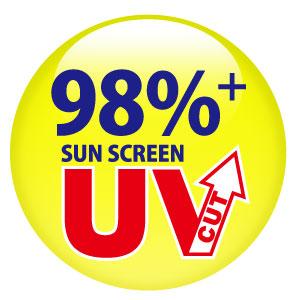 ユナイテッドアスレ無地ポロシャツ「ドライ・シルキータッチの98%紫外線遮断率の表示」
